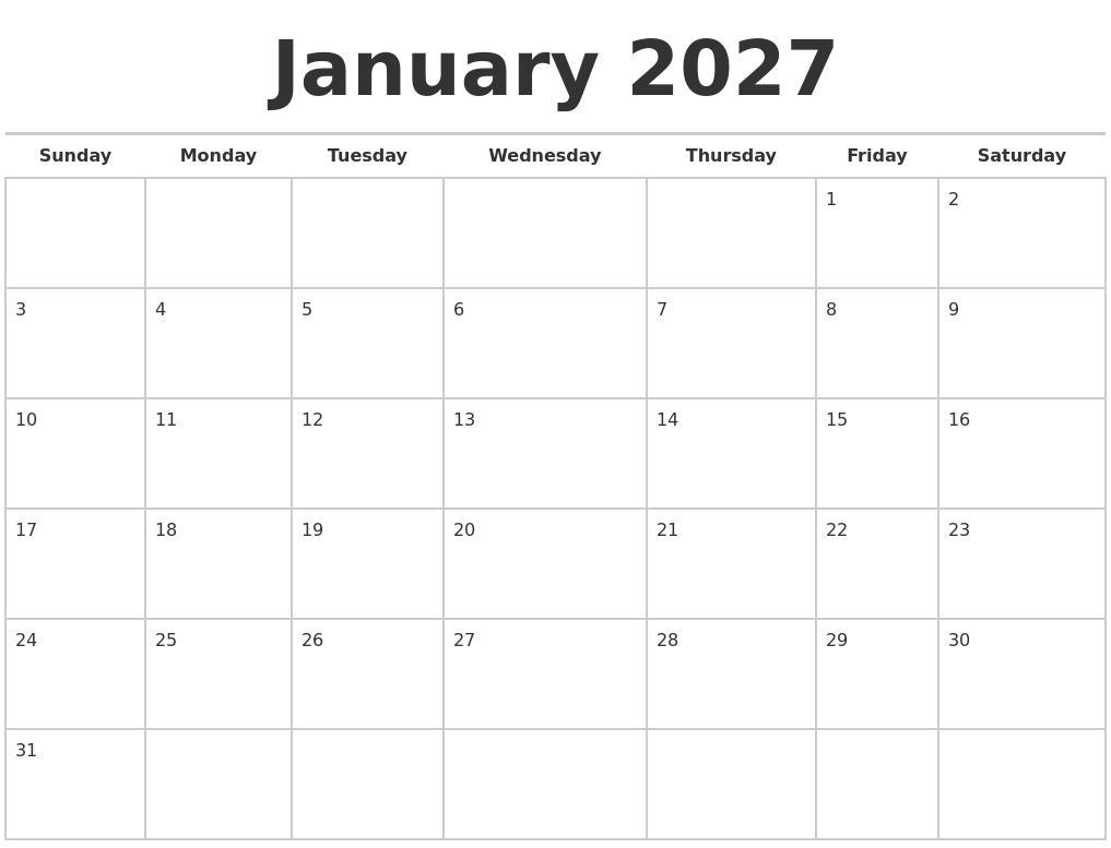 January 2027 Calendars Free