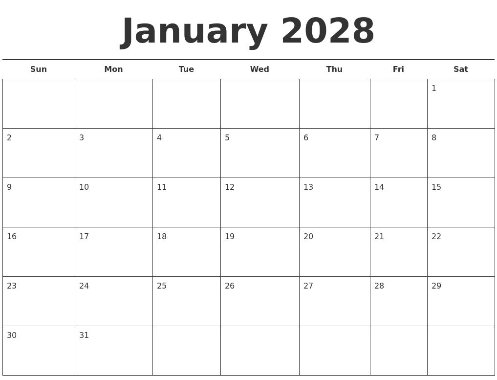 January 2028 Free Calendar Template