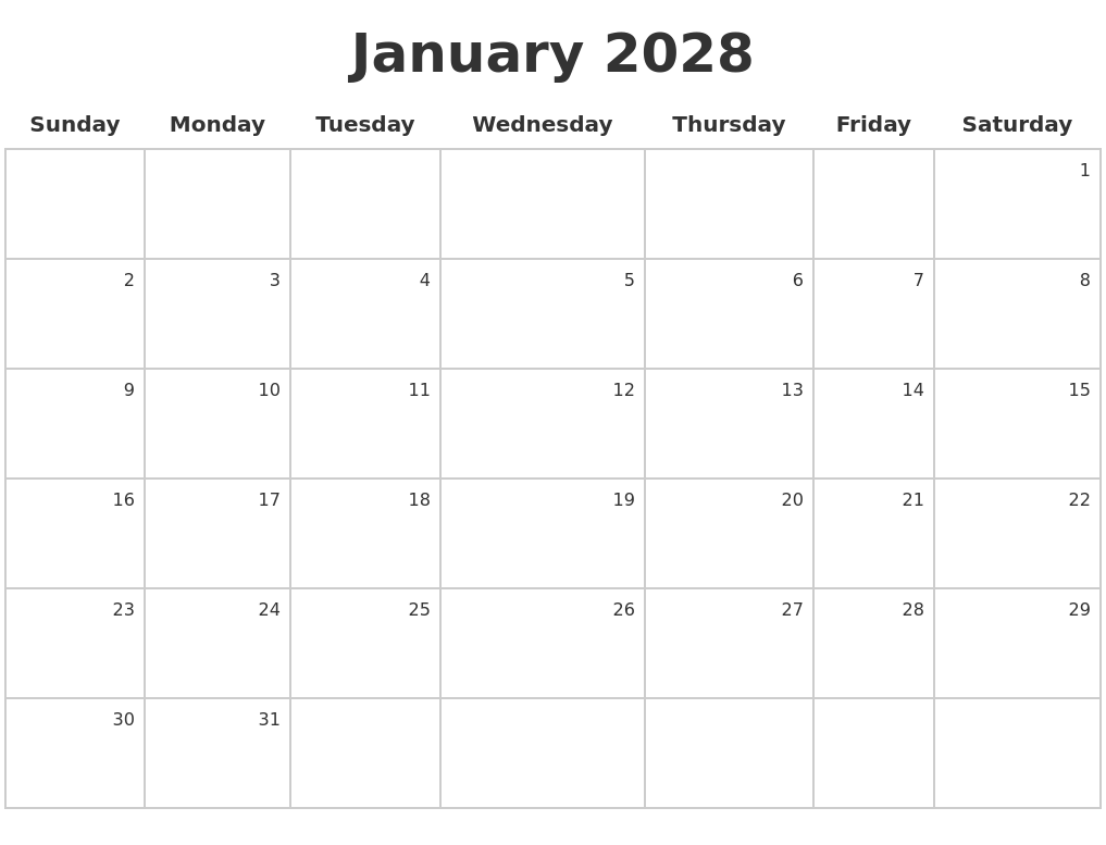January 2028 Make A Calendar PDF's
