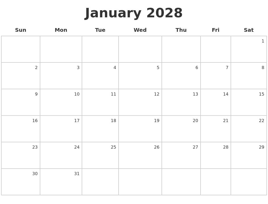 January 2028 Make A Calendar