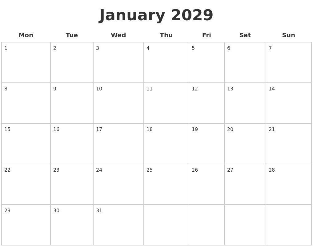 January 2029 Blank Calendar Pages