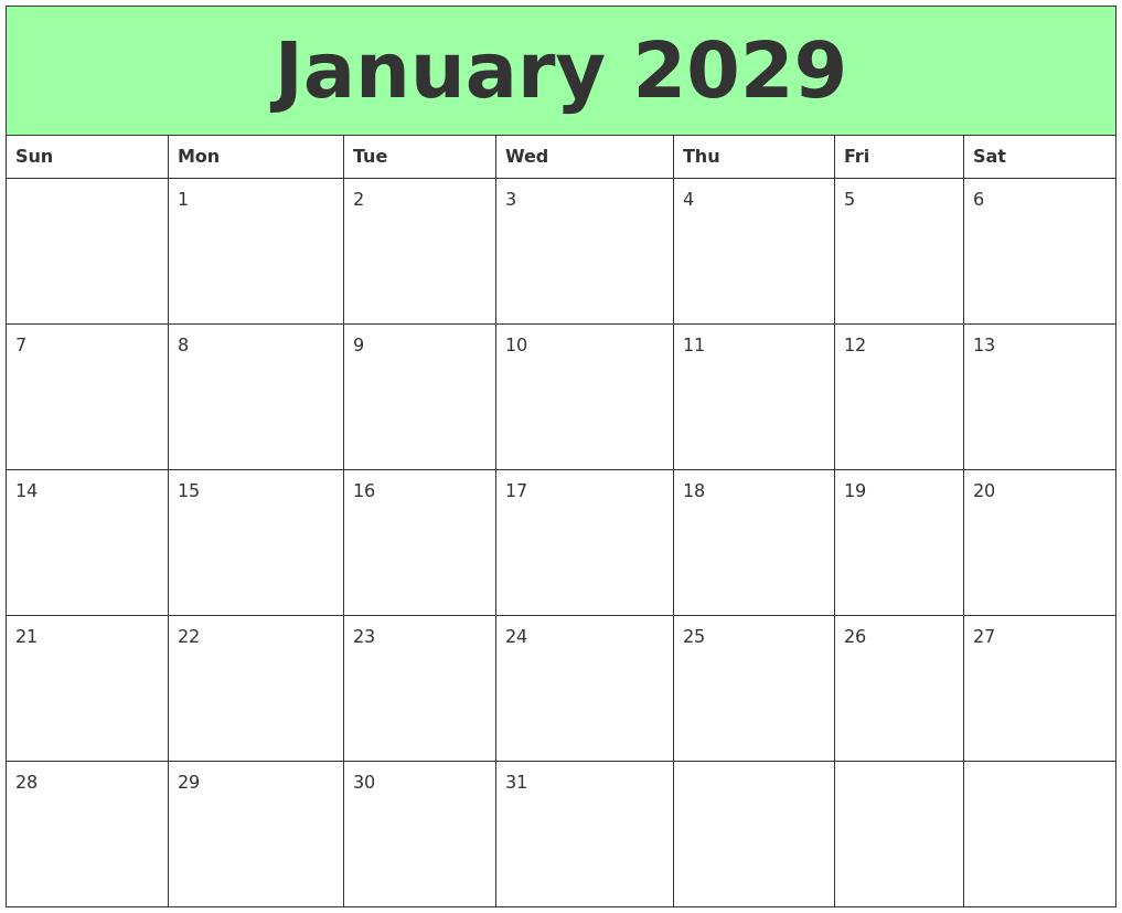 January 2029 Printable Calendars