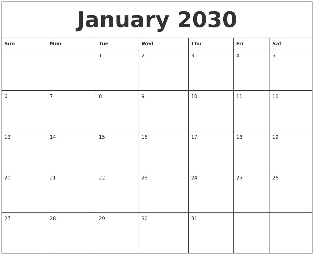 january 2030 free printable weekly calendar