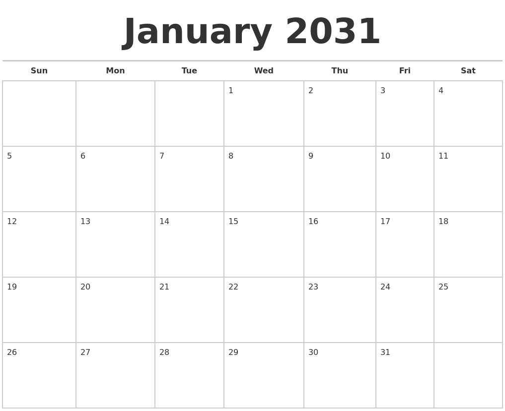 June 2031 Calendar Maker