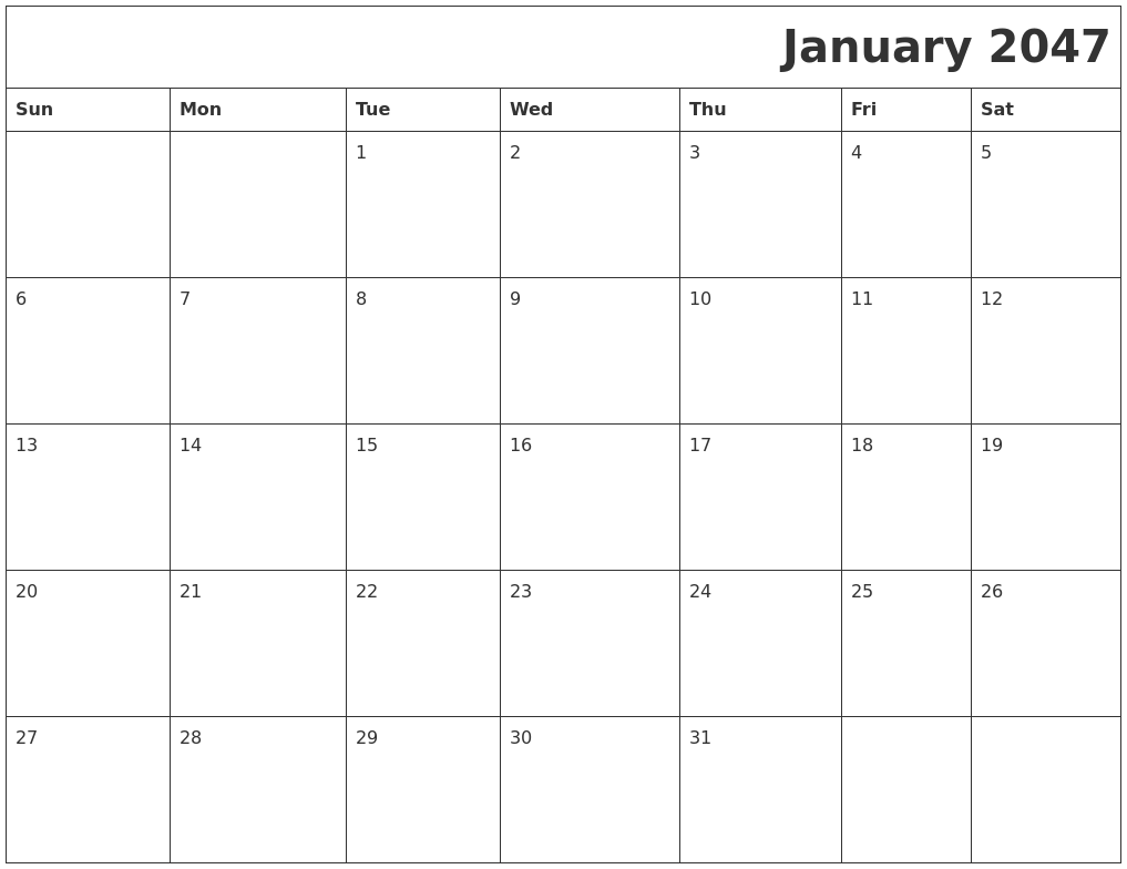 January 2047 Download Calendar