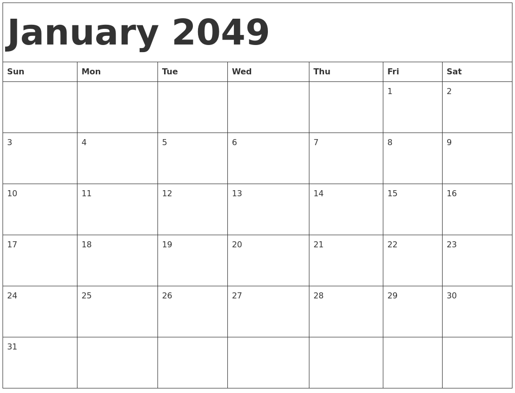 january 2049 calendar template