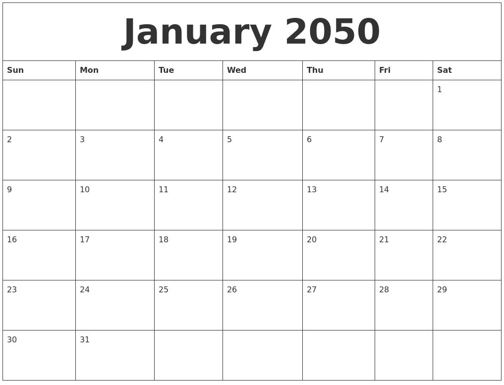 January 2050 Online Printable Calendar