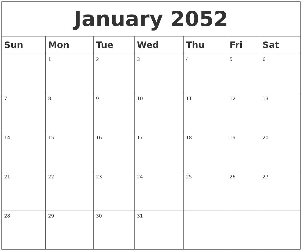 June 2052 Monthly Calendar