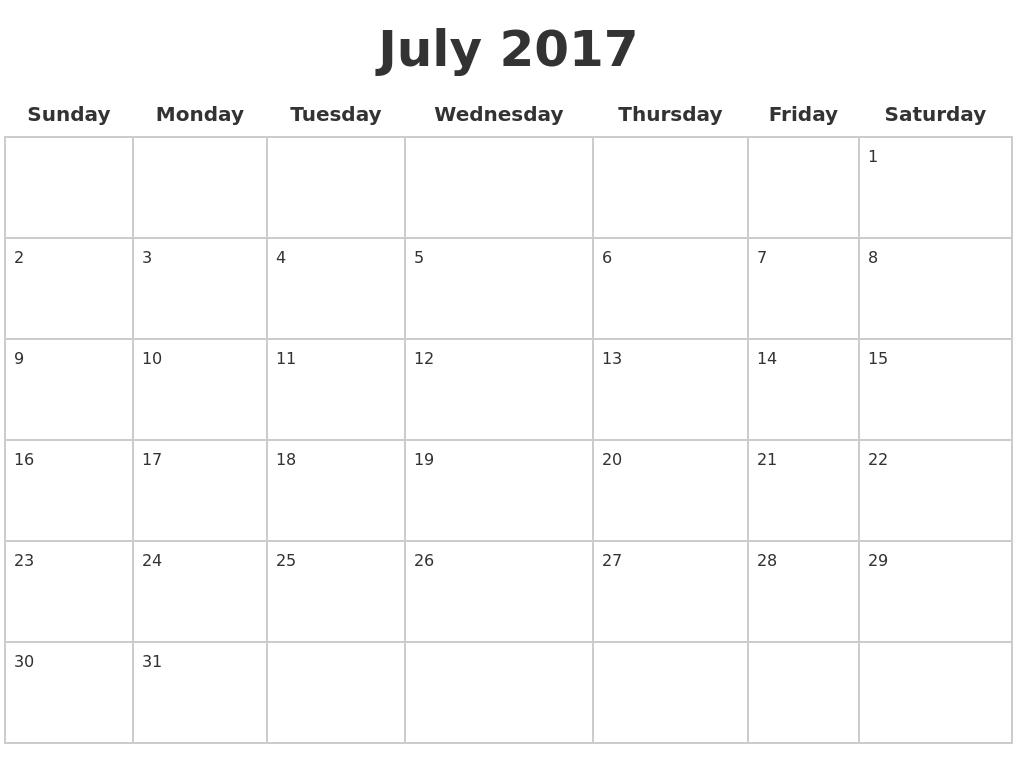 October 2017 Calendar Full Page