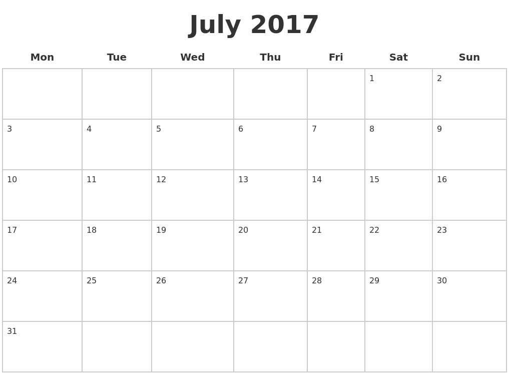 July 2017 Blank Calendar Pages PDF's