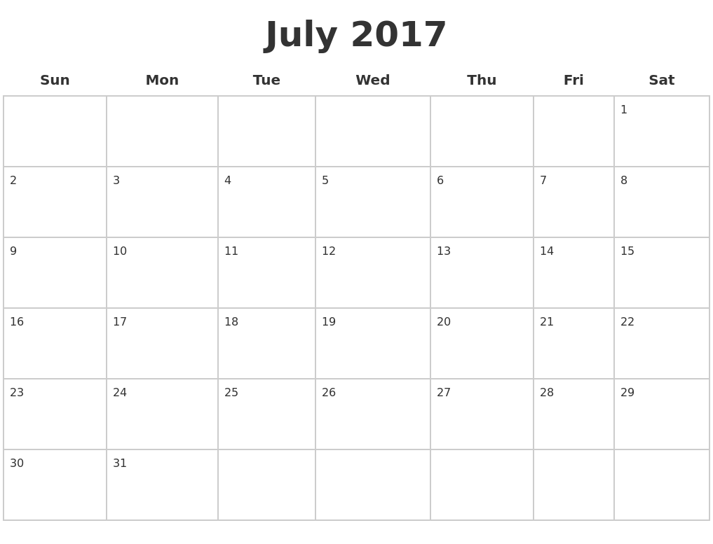 July 2017 Blank Calendar Pages