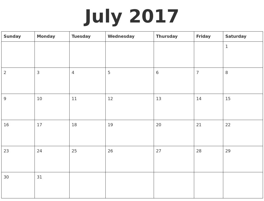 July 2017 Blank Calendar Template PDF's