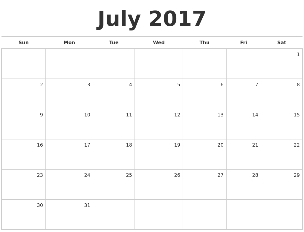 July 2017 Blank Monthly Calendar