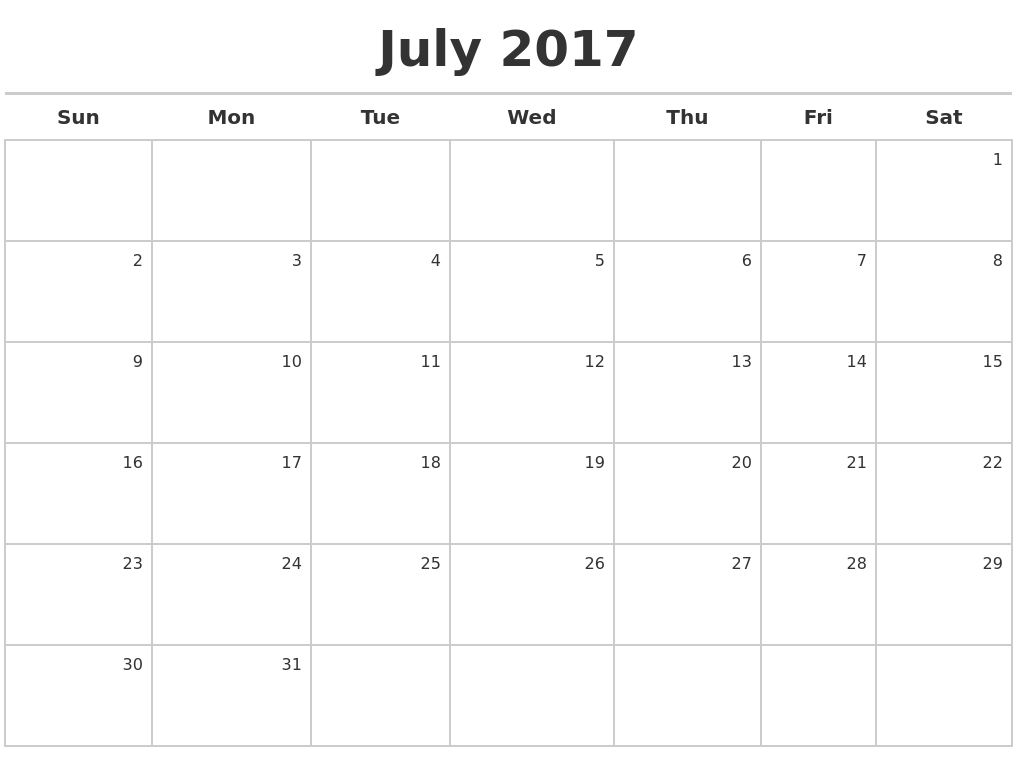 Calendar October 2017 To July 2018
