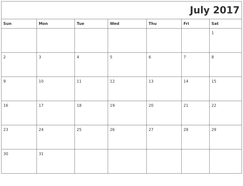 July 2017 Download Calendar