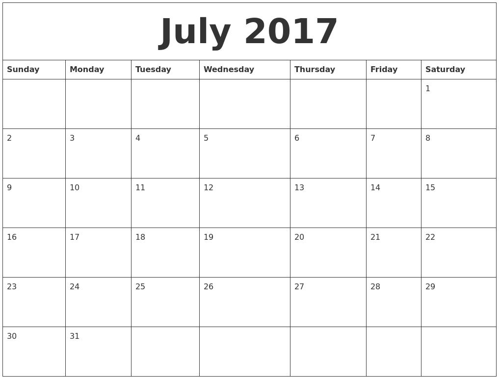 July 2017 Calendar Editable Printable Template with Holidays