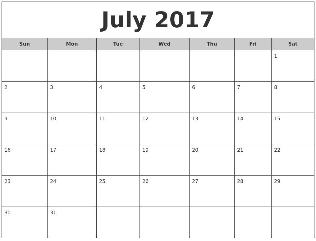 July 2017 Free Monthly Calendar