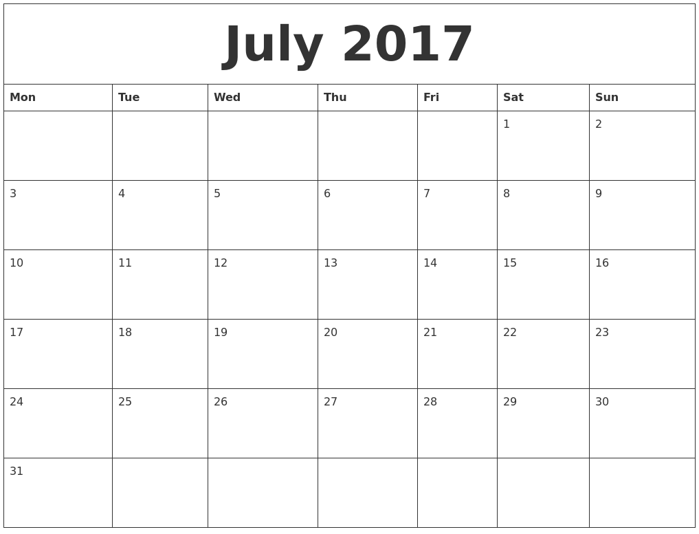 Printable Monthly Calendars 2017 Radiovkm Tk