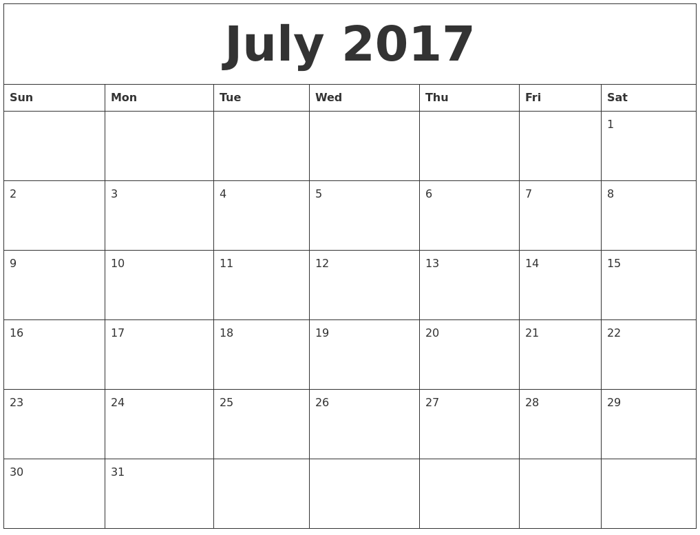 July 2017 Free Printable Monthly Calendar