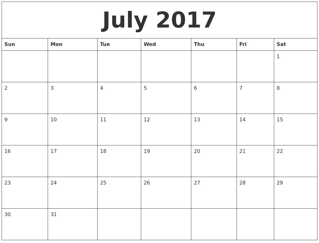 July 2017 Free Printable Weekly Calendar