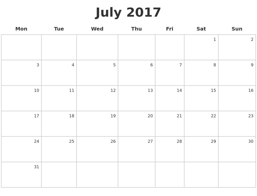 July 2017 Make A Calendar PDF's