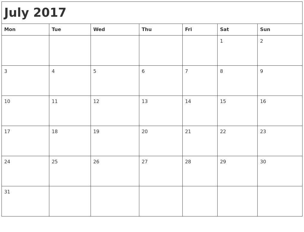 Monthly Calendar Monday Start : July month calendar