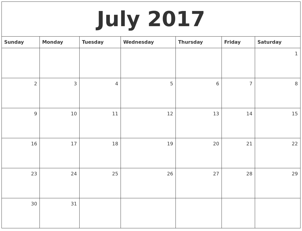 July 2017 Monthly Calendar
