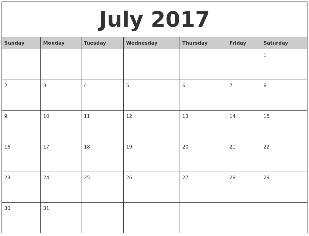 July 2017 Monthly Calendar Printable PDF's