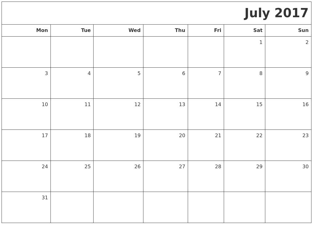 Calendar Monday Start : July printable blank calendar