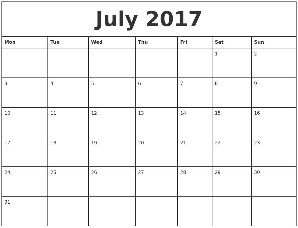 july 2017 printable monthly calendar. Black Bedroom Furniture Sets. Home Design Ideas