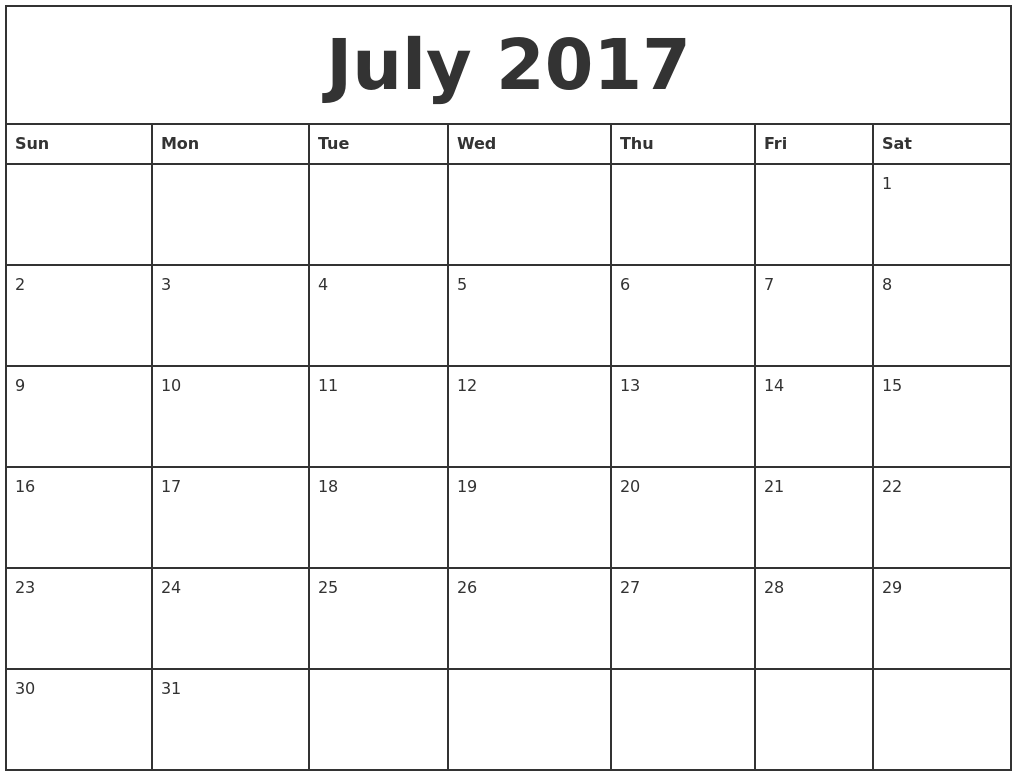 September 2017 Blank Monthly Calendar
