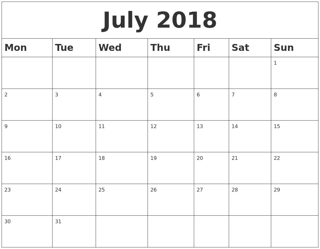 Blank Calendar 2018 Monday Start