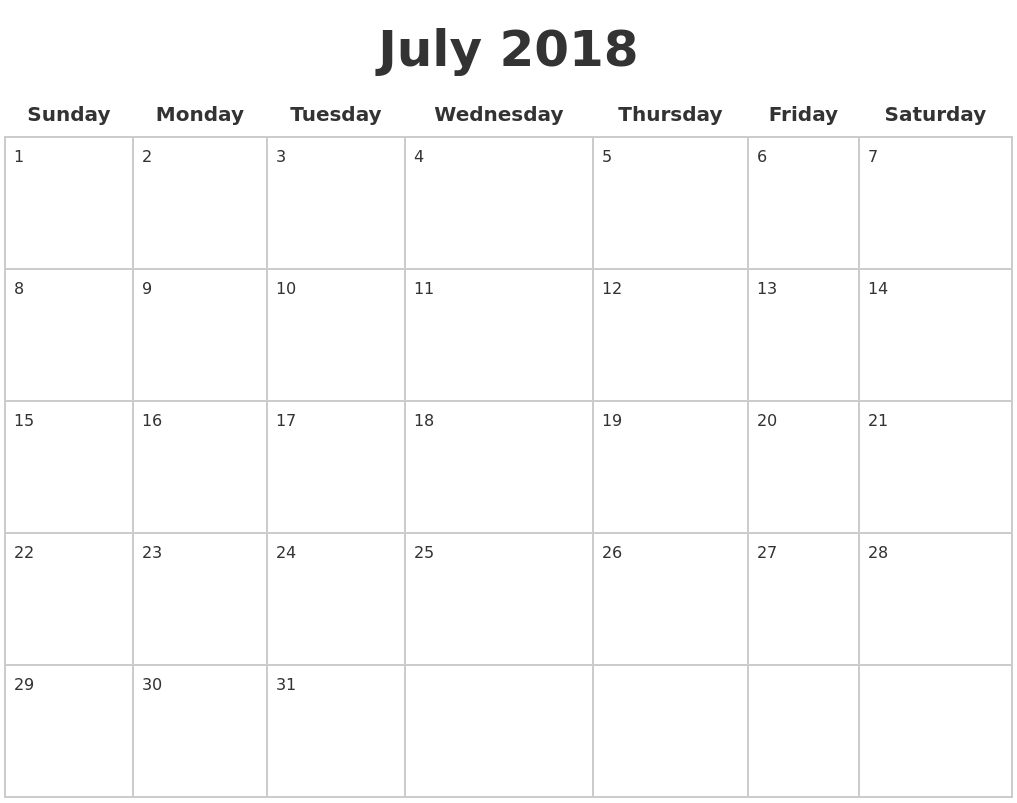 July 2018 Blank Calendar Pages