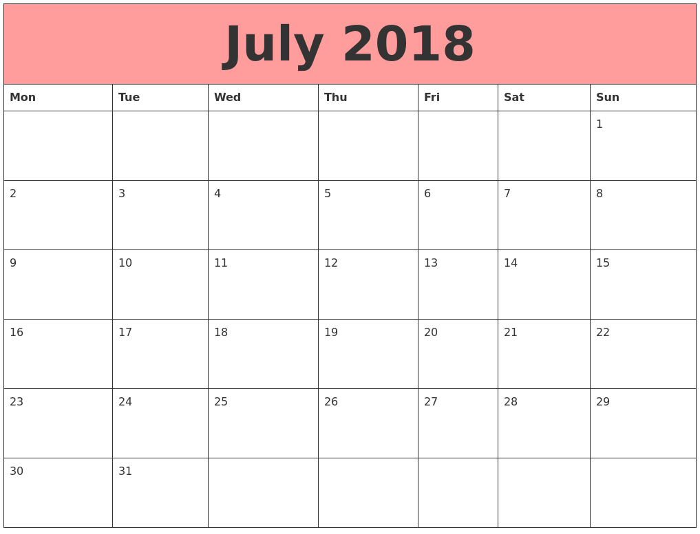 July 2018 Calendars That Work