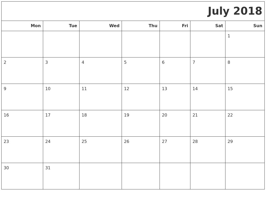 July 2018 Calendars To Print