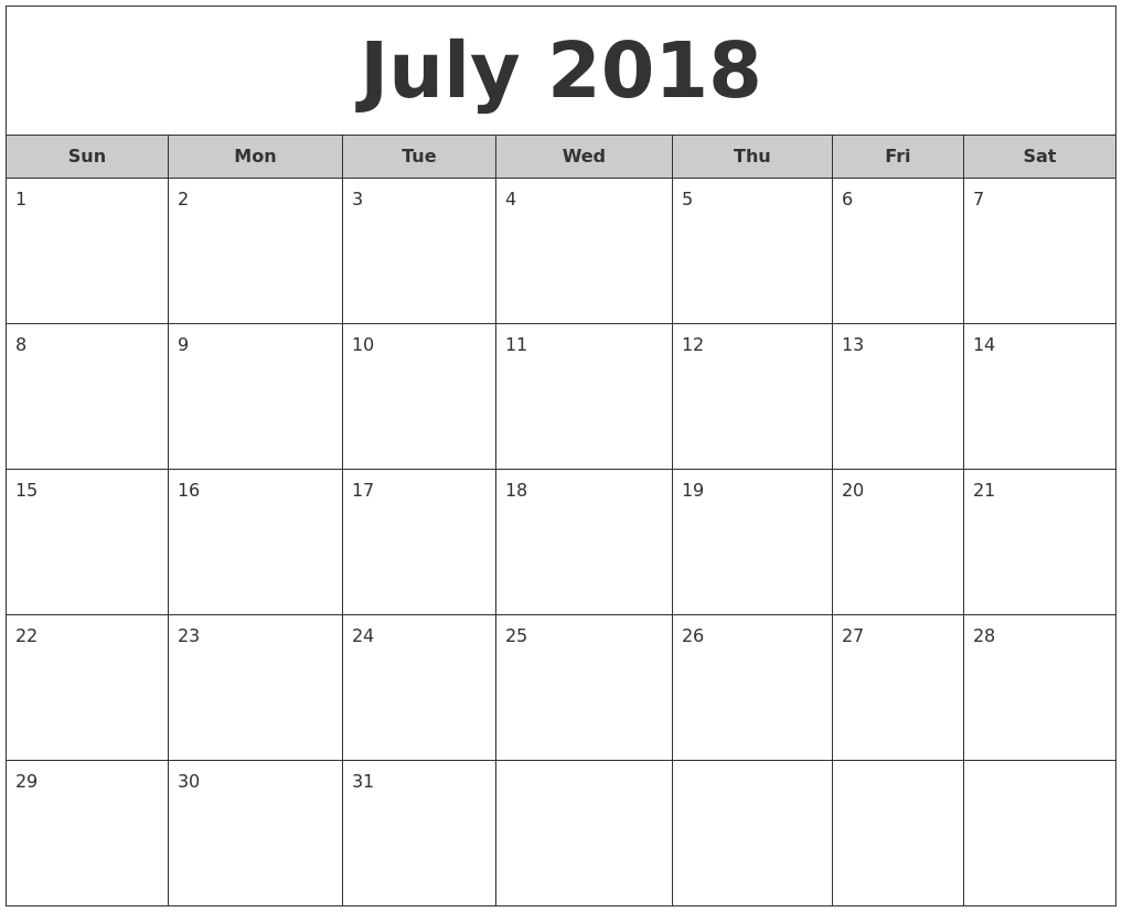 July 2018 Free Monthly Calendar