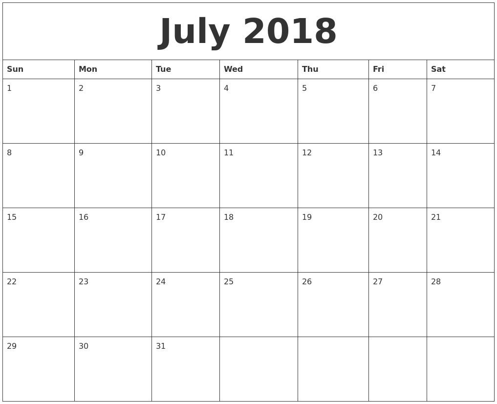 July 2018 Free Printable Calendar Templates