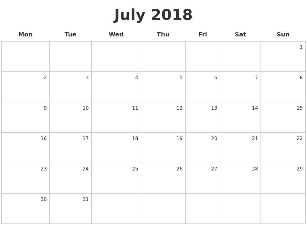july 2018 make a calendar