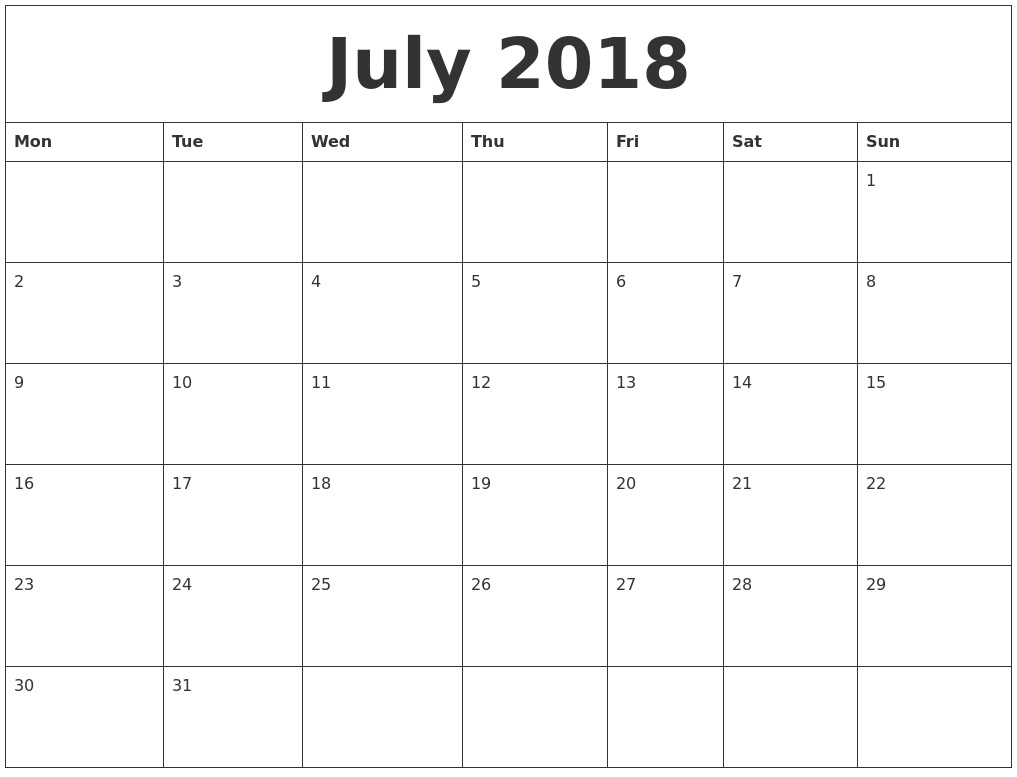 July 2018 Printable Calendar Pages