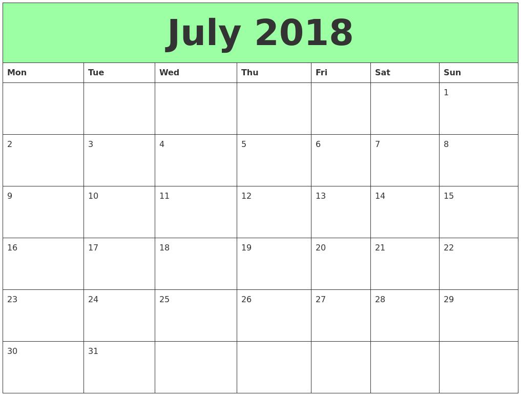 July 2018 Printable Calendars