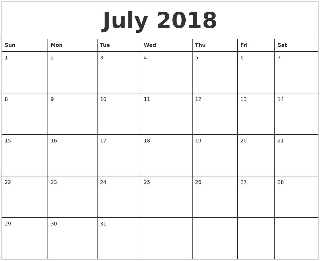 July 2018 Printable Monthly Calendar