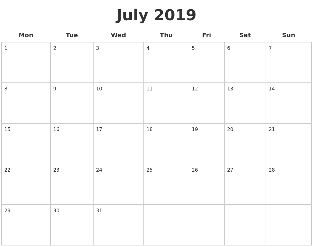 July 2019 Blank Calendar Pages