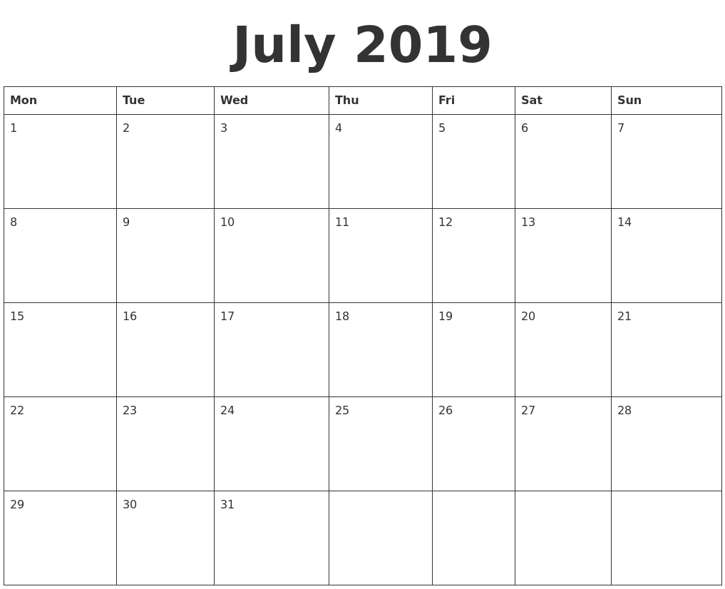 July 2019 Blank Calendar Template