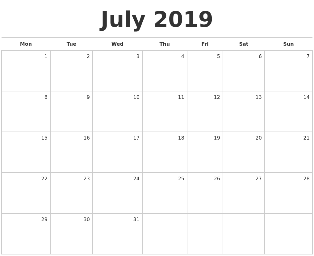 July 2019 Blank Monthly Calendar