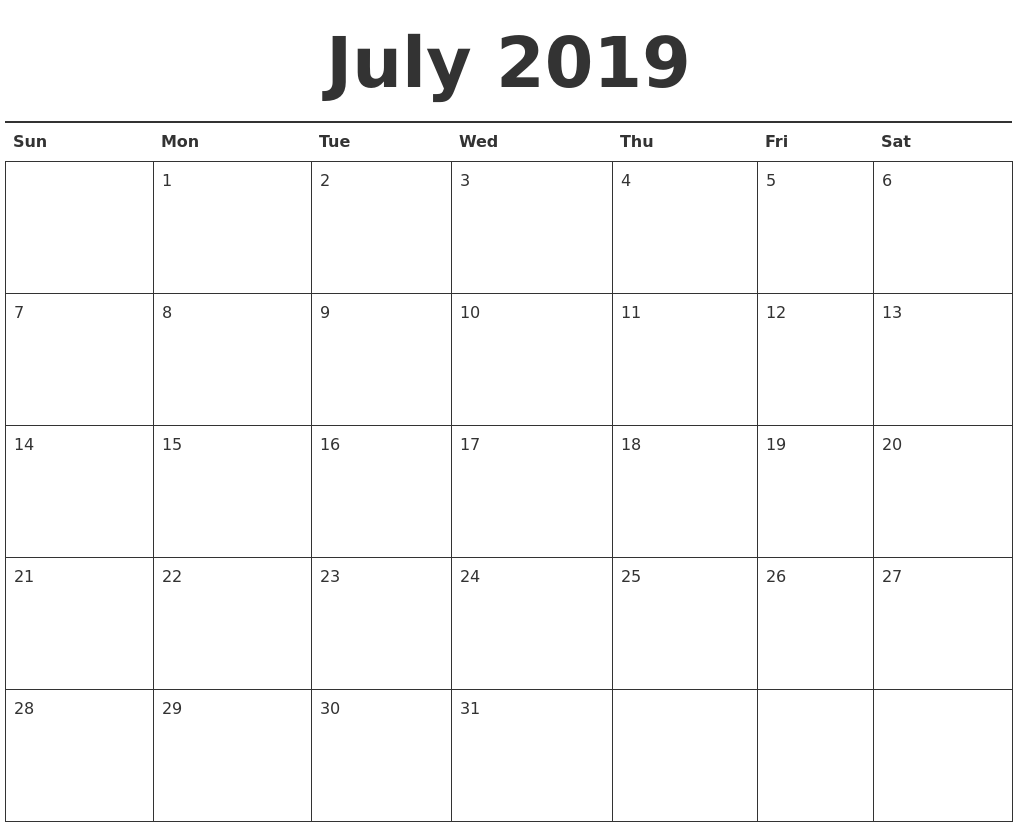 photo relating to Printable Pdf Calendar identified as July 2019 Calendar Printable