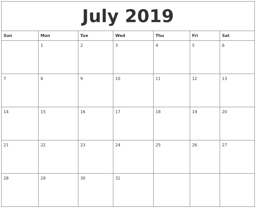 picture relating to July Printable Calendar identified as July 2019 Calendar