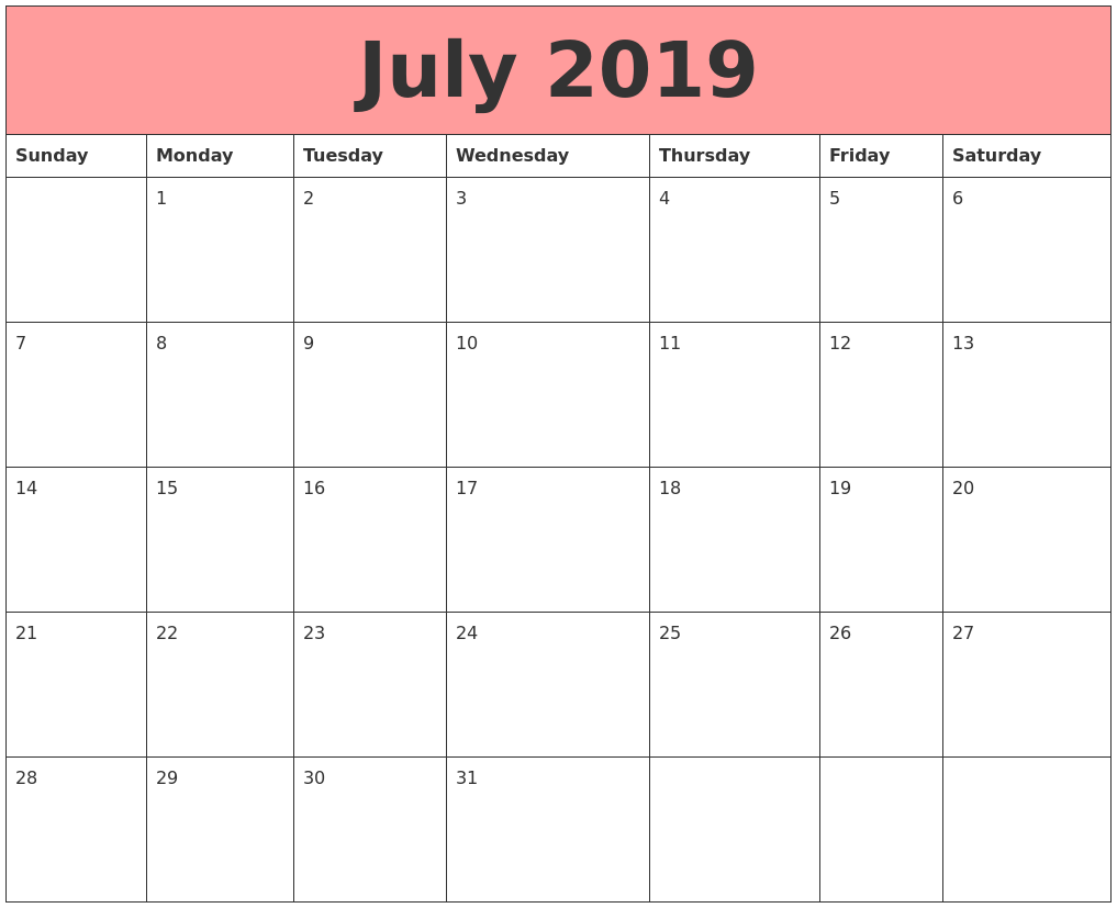 July 2019 Calendars That Work