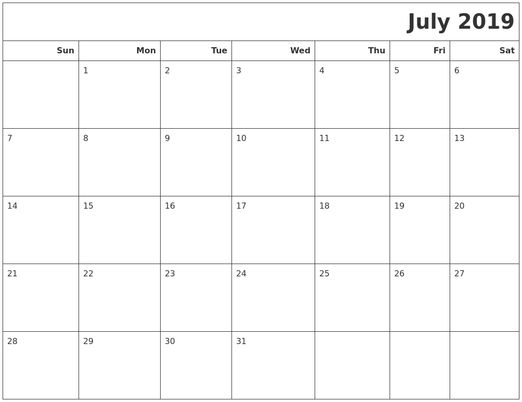 July 2019 Calendars To Print