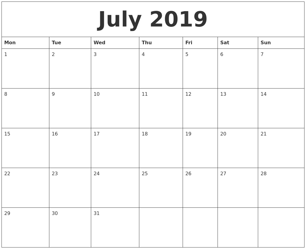 Calendar Template Starting With Saturday
