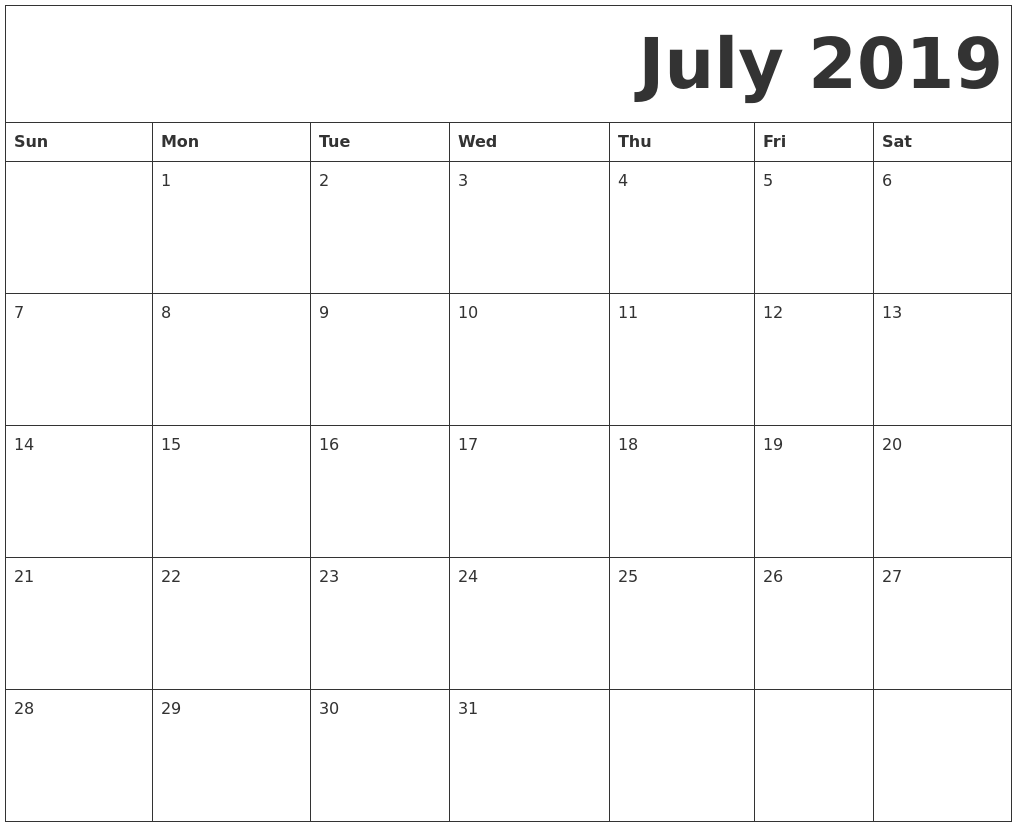 image relating to Calendar for July Printable referred to as July 2019 Free of charge Printable Calendar